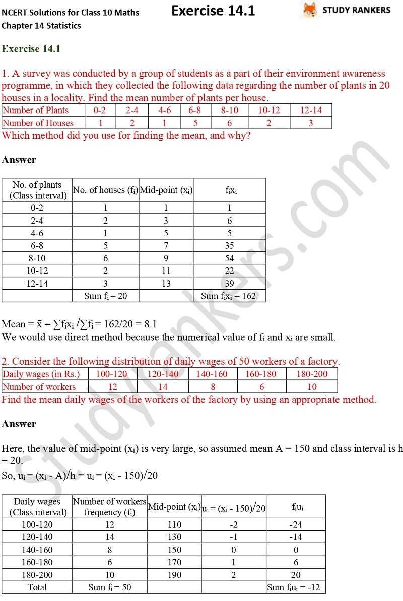 NCERT Solutions for Class 10 Maths Chapter 14 Statistics Exercise 14.1 Part 1