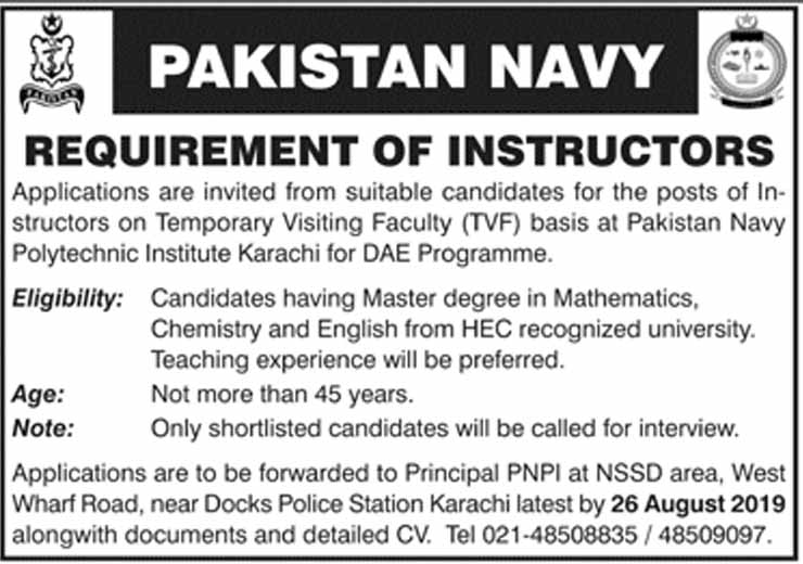 Jobs in Pakistan Navy as Instructors 11 Aug 2019