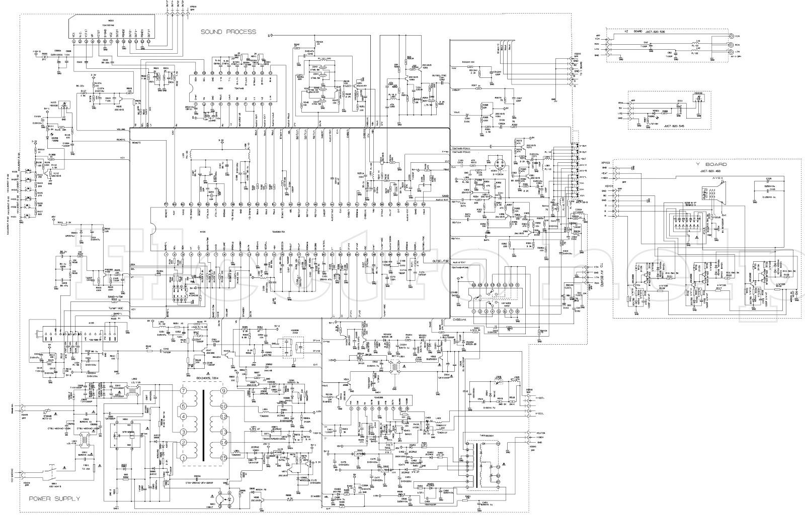 ROLSEN 21C19 CTV SCHEMATIC USING STR G5663 – TDA938x5X