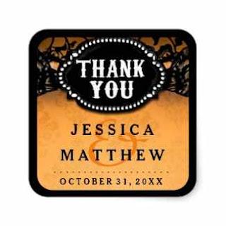 Halloween Wedding Orange Black Lace Thank You Square Sticker