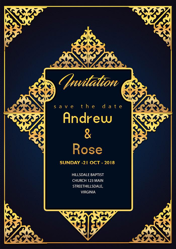 Wedding Invitation Card Design Template With Gold Floral Frame Royal Border