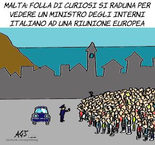 lamorgese, ministro dell'interno, salvini, riunioni europee, ue, migranti, redistribuzione, unione europea, porti, vignetta, satira