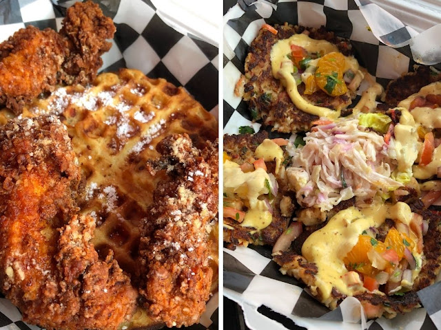 Indulging with a dinner of chicken and waffles and crab cakes from River House Bar & Grill in Moline, Illinois.