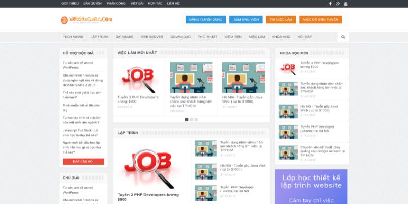 Mẫu website tuyển dụng tin tức miễn phí