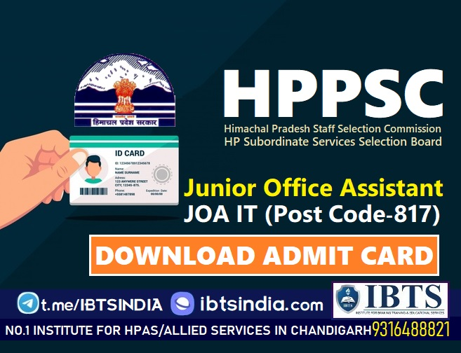 HPSSC JOA IT Admit Card 2021 Released (Post Code-817): Download HPSSSB Junior Office Assistant Call Letter Here