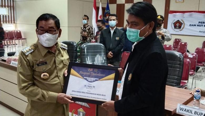 Peringatan HPN 2021, Bupati Saply Dapat Penghargaan Tjhindarboemi Dari PWI Lampung