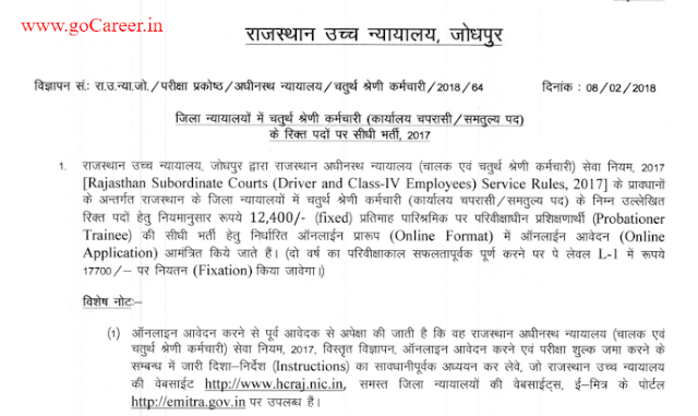 Rajasthan High Court Recruitment 2018 For Posts- 2309 (Last date- 13- March- 2018)