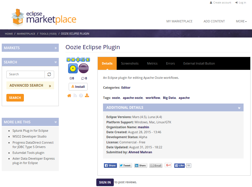 Oozie Eclipse Plugin Blog: Install Oozie Eclipse Plugin