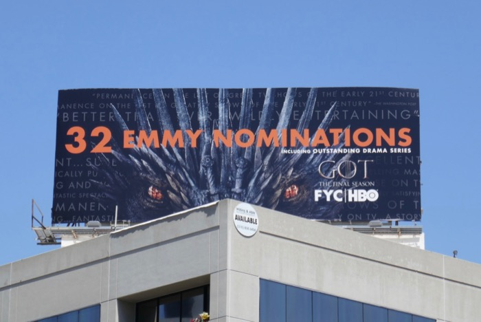 Game of Thrones 2019 Emmy nominee billboard