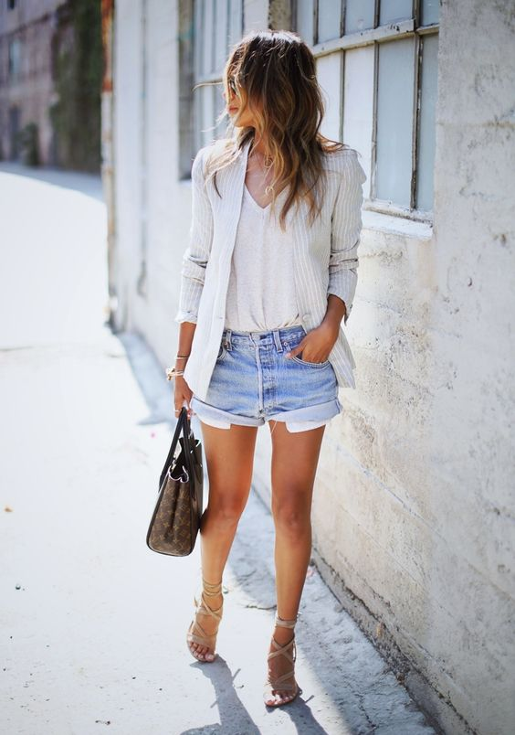 Sincerely Jules - Levis Cut Off Shorts, Lace Up Sandals, Louis Vuitton Bag
