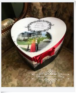 Pudełko na prezenty ślubne – serce z elementami czerwieni – Decoupage.