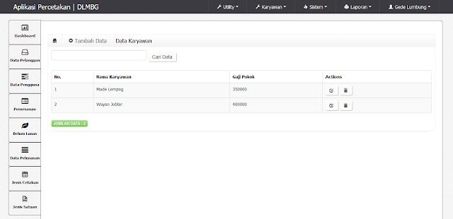 Source Code Program PHP MySQL Percetakan Berbasis WEB CI