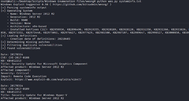 WES NG exploit suggester