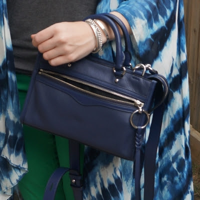 tie dye kimono with Rebecca Minkoff Micro Bedford zip satchel in twilight | away from the blue
