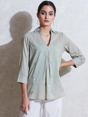 Ritu Kumar sage green self-work cotton Kurti