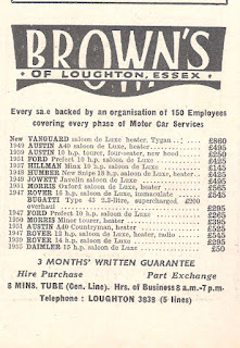 Browns of Loughton, Essex advert from Autocar23Oct1953