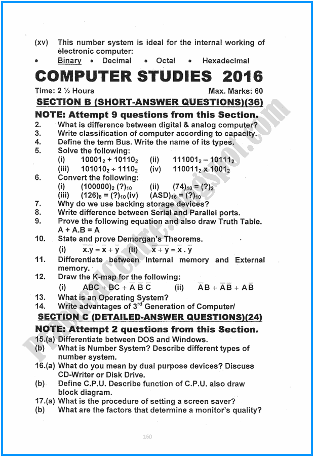9th-computer-studies-five-year-paper-2016