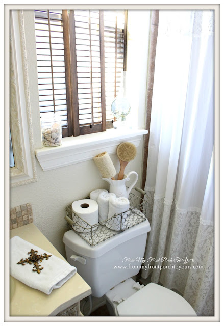 Farmhouse Guest Bathroom-Vintage Shutters- From My Front Porch To Yours