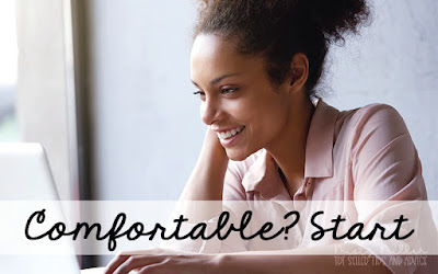 Should I Start an Email List: Comfortable? Start, Woman at laptop smiling and relaxed