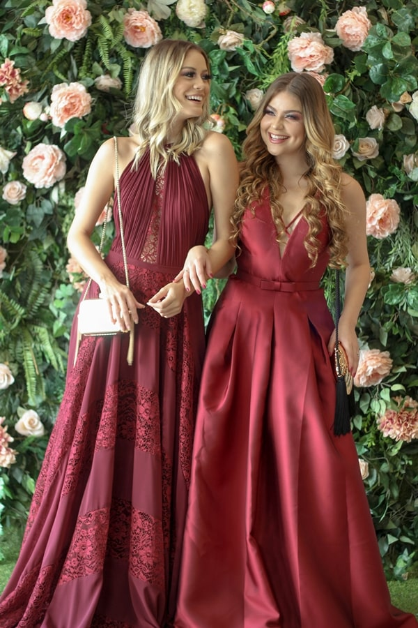 vestido de festa longo marsala para madrinha de casamento