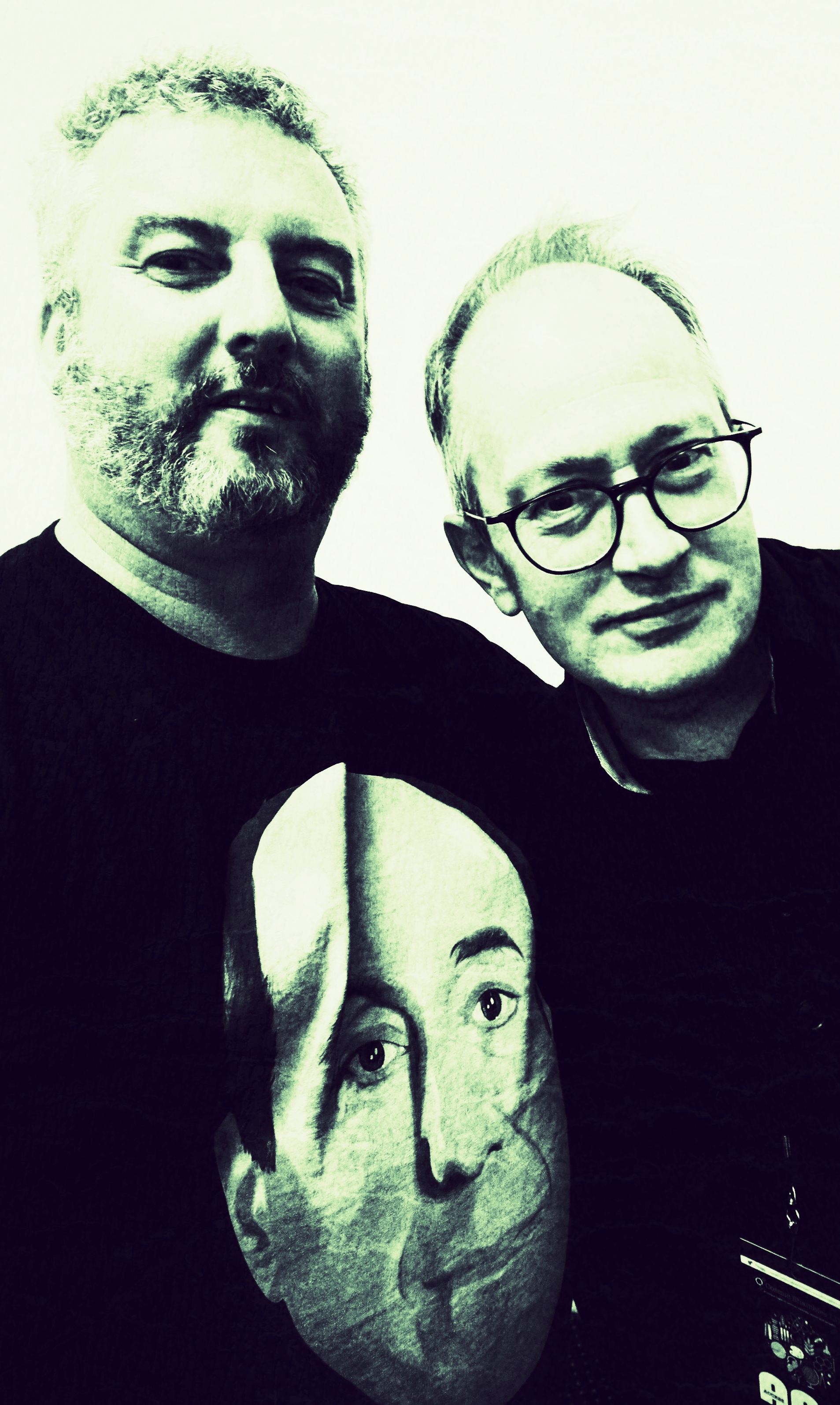 Mike with Robin Ince and a t-shirted Red Dwarf Holly