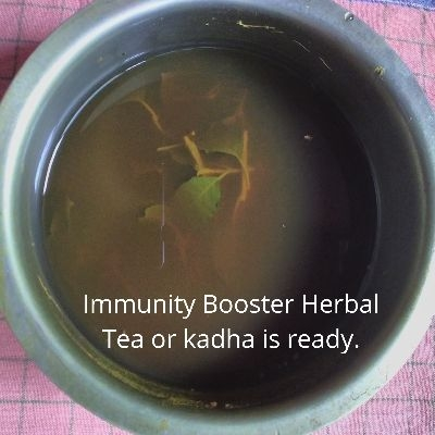 Herbal Kadha ready after boiling and reducing content to half