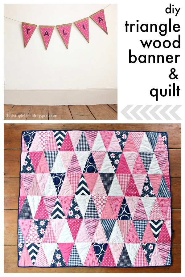 diy triangle wood banner and quilt