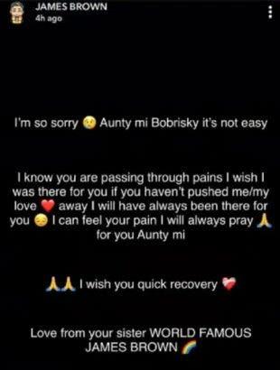 Im sorry Aunty Mi- James Brown wishes Bobrisky quick recovery