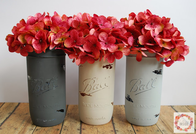 Paint mason jars to match your decor or decorate with during holidays. Find out more at A Glimpse Inside.