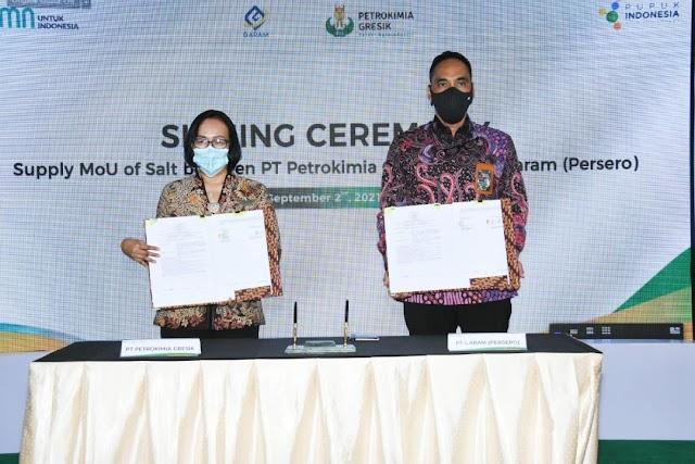 Petrokima Gresik-PT Garam dan Unilever Asia MoU Sukseskan Pabrik Soda Ash
