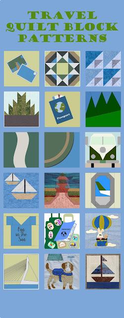 Travel-themed quilt blocks
