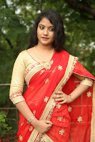 Akshara in Red Saree Golden Choli at LV Movie Makers Production No 1 Movie Opening ~  Exclusive 073.JPG