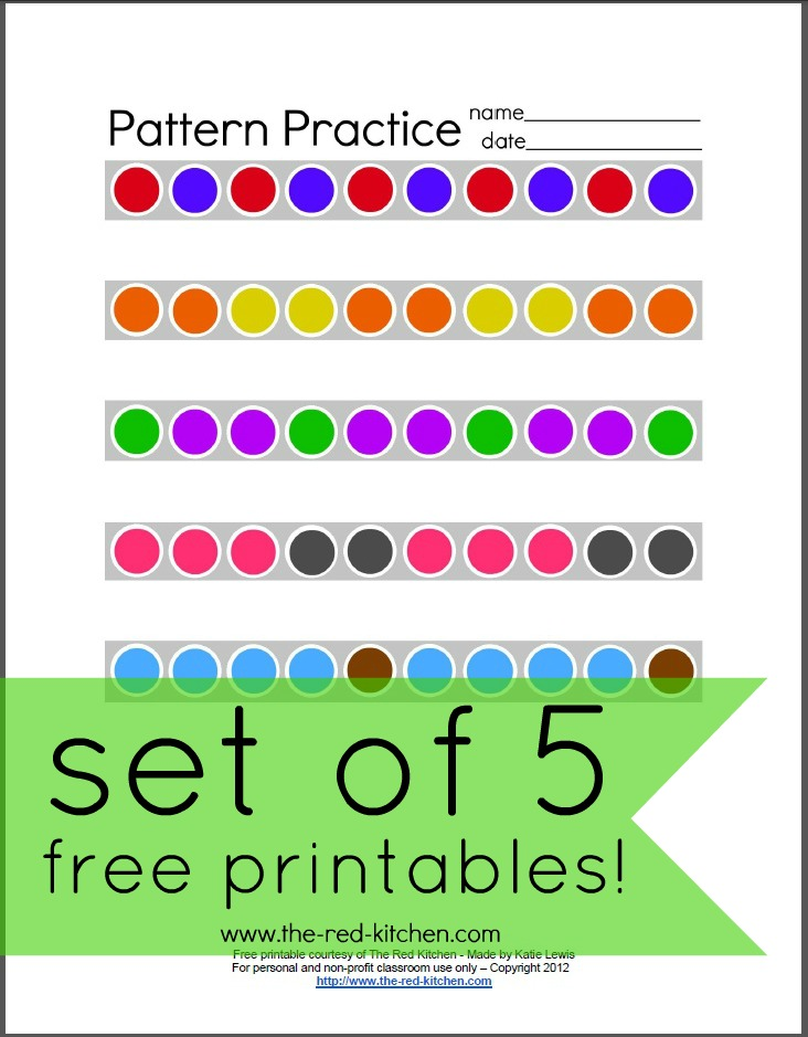 the red kitchen pattern practice free printables. Black Bedroom Furniture Sets. Home Design Ideas