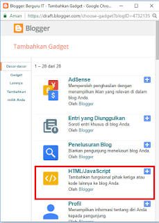 tambahkan gadget pilih HTML/Javascript