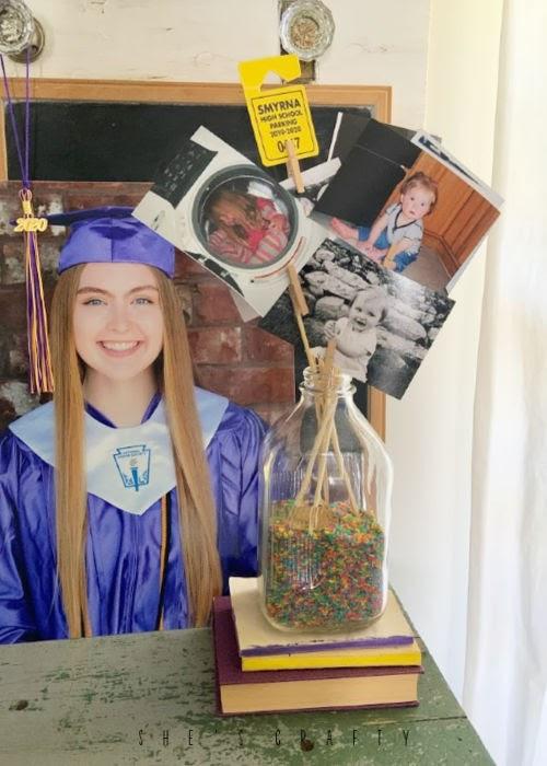 graduation display at home for seniors  -  baby photo display