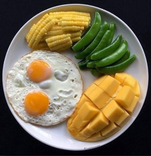 Menu diet puasa tanpa nasi telur, kacang kapri,mangga, jagung