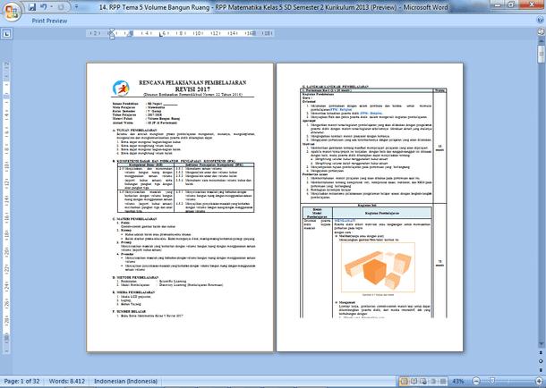 Contoh RPP Matematika Kelas 5 SD Semester 2 Kurikulum 2013 Revisi Terbaru 2019-2020