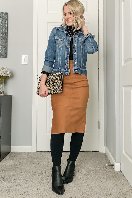 Faux Suede skirt with denim jacket