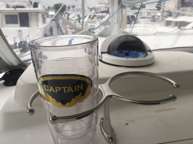 Cupholder on a Lagoon 380 sail catamaran