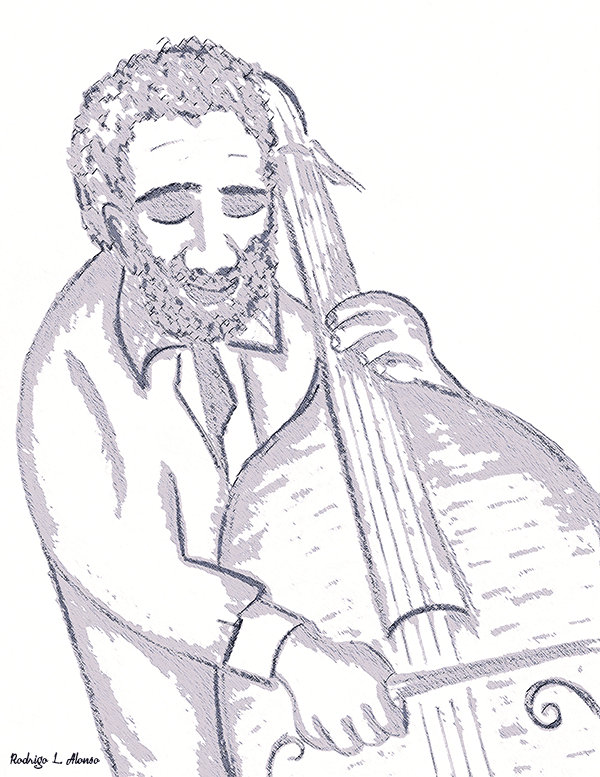 Músico de jazz tocando el contrabajo. Ilustración de Rodrigo L. Alonso