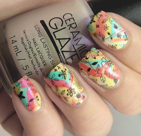 Nail Art Silk Matte Watermarble With Floral Decals Procrastinails