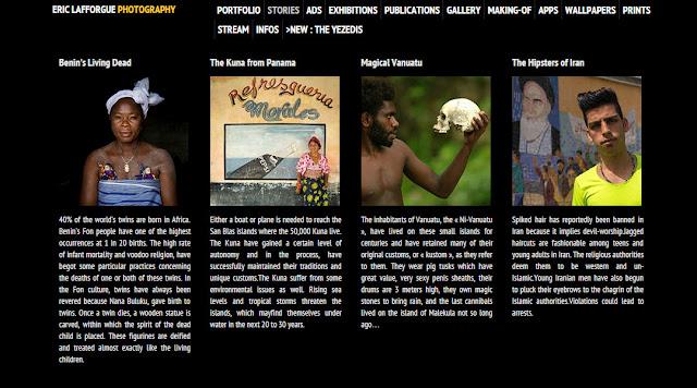 Screenshot del sito web del fotografo e viaggiatore Eric Lafforgue