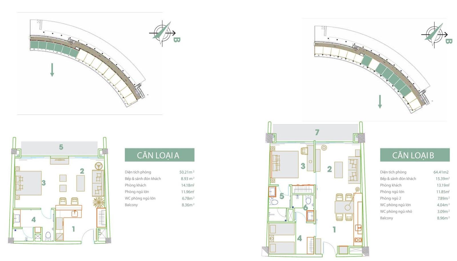 Mặt bằng thiết kế căn hộ loại A và B Condotel 7 tầng