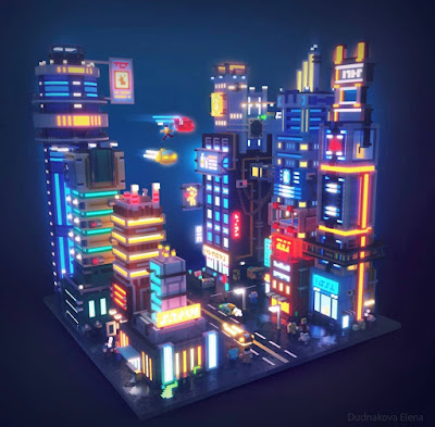 Voxel Cyber Punk City