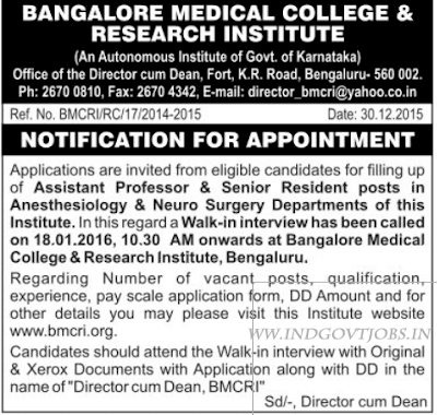 BMCRI Walk in interview 2016 indgovtjobs