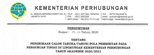 Persyaratan Penerimaan Calon Taruna/Taruni Perguruan Tinggi Di Lingkungan Kementerian Perhubungan 2020/2021