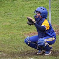 Girl playing softball catcher