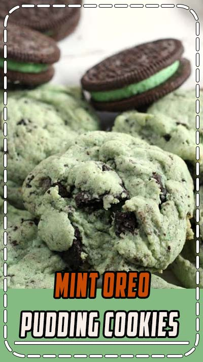 Mint Oreo Pudding Cookies are soft, chewy and full of mint flavor, Oreo pudding mix and crumbled Oreo cookies! The #mint and #chocolate flavor combination is a winner in these amazing #cookies! #Oreo Mint #Pudding Cookies from Butter With A Side of Bread #baking #dessert #food #recipe