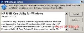 HP package setup window