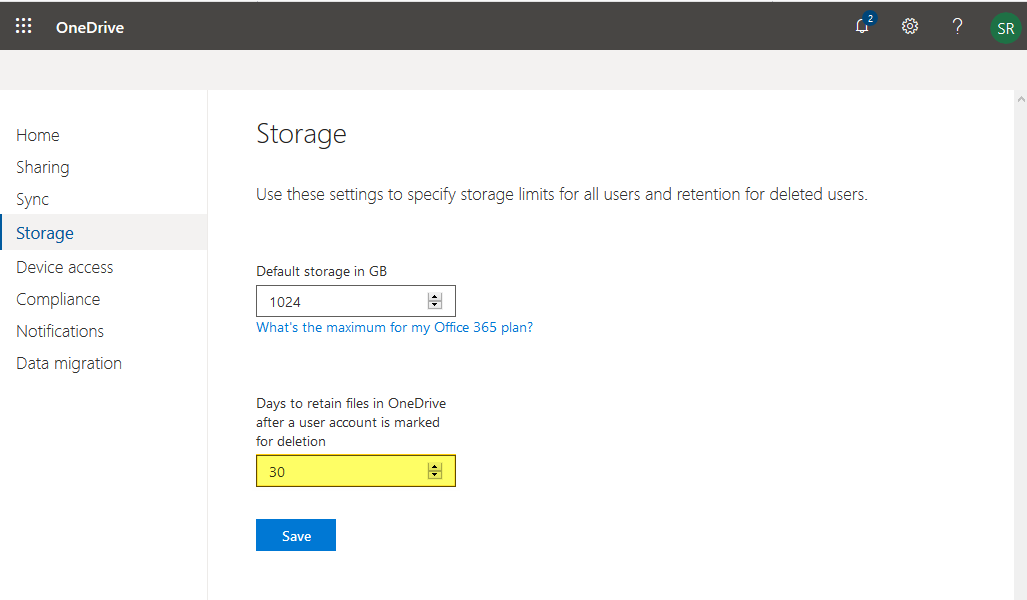 office 365 onedrive for business retention